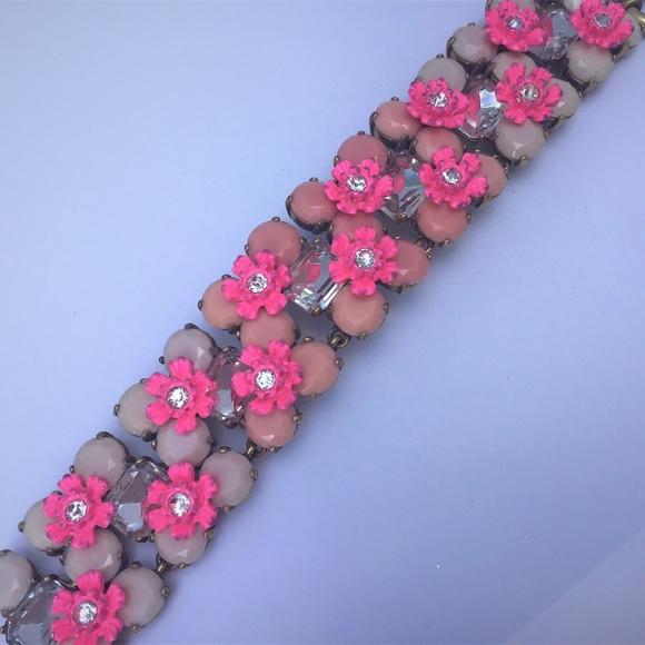 J. Crew Jewelry - J. CREW PINK FLOWER BRACELET NWOT